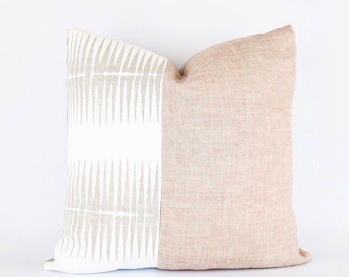 Hand Block Printed Linen And Blush Pink Belgian Linen Pillow Cover 18x18