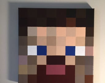 "Minecraft Inspired ""Steve"" Wall Decor Hand Painted"