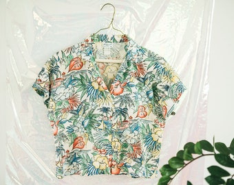Vintage Cropped Hawaiian Print Top