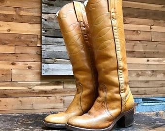 Vintage FRYE Tall Campus Boots Vtg Tan Leather Embroidered Western Boots with Stacked Heel Made in USA Women's Size 5