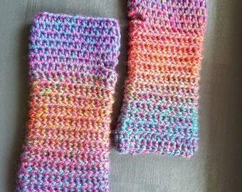 Gloves - Blue, Purple Green, Pink - Fingerless Gloves - Crochet