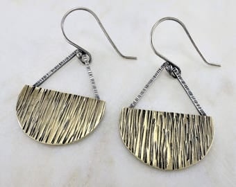 Brass Earrings ~ Mixed Metal Earrings ~ Silver Earrings ~ Dangle Earrings ~ Geometric Earrings ~ Minimalist Earrings ~ Everyday Earrings