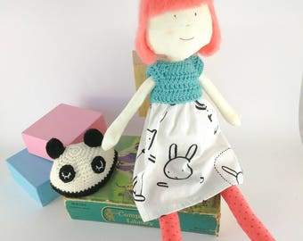 Vivienne, the Cute Hat Doll - heirloom doll - cloth doll - fabric and crochet doll - animal hat doll