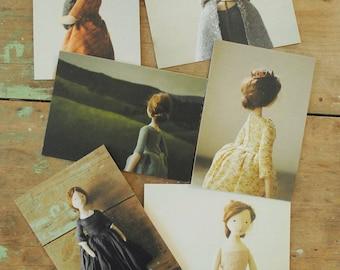 Willowynn doll postcard set of six / 6 blank art cards by Margeaux Davis