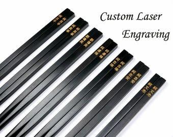 Custom Ebony Wood Chopsticks with Gold Coloring Painted Engraving, Family Chopsticks Set