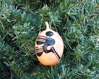 Southwestern Hand-painted Gourd Hummingbird Bird Design Christmas Ornament New Mexico Southwest Buffalo Gourd Coyote Gourd #405G
