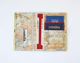 Womens wallet, boarding pass holder, travel wallet, metal frame wallet, travel organizer, family travel holder, mens wallet, world map print