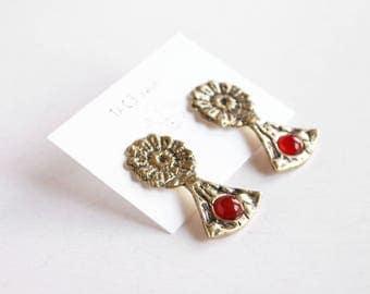 Carnelian earrings daisy earrings boho earrings crystal earrings stone earrings flower earrings oxidized silver earrings gift for her tribal