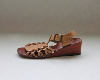 Brown Vintage Wooden Clogs Leather Shoes  Strap Sandals Ankle Strap Hipster Hippie Eco friendly Made in Brazil