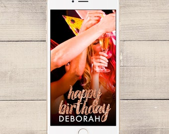 Rose Gold Glitter Birthday Snapchat Geofilter, Birthday Snapchat Filter, Custom Geofilter, Personalized Geofilter, Custom Snapchat (0002)
