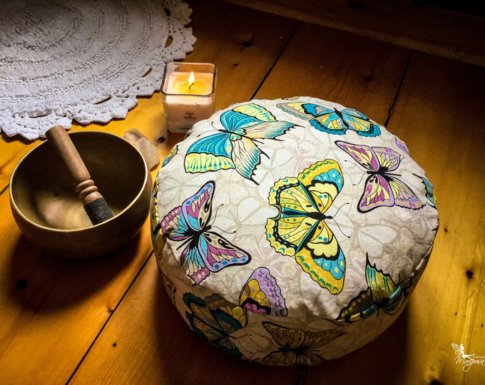 Pouf Zafu Butterfly Meditation cushion bohemian decor organic Buckwheat washable floor pillow handmade by Creations Mariposa ZP-B