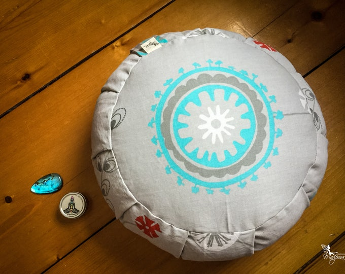 Traditional zafu Turquoise Mandala Meditation cushion organic buckwheat pillow handmade by Creations Mariposa ZT-MT
