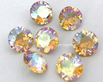 1088 ss39 LIGHT TOPAZ SHIMMER 12 pieces Swarovski Crystal Chaton Pointed Back Round Stones, Sparkling Yellow