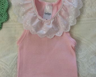 Pretty baby top, baby singlet , tank top, lace trimmed tank, baby top, baby shirt, singlet top, summer outfit, baby shower gift.