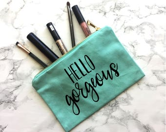 Hello Gorgeous Canvas Makeup Bag, Engagement Gift, Wedding Gift, Wedding Apparel, Bride tote, Bride Purse, Bride Makeup Bag