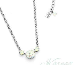 WHITE PATINA & OPAL 12mm/6mm Crystal Cushion Cut Necklace Swarovski Elements *Pick Your Finish *Karnas Design Studio *Free Shipping*