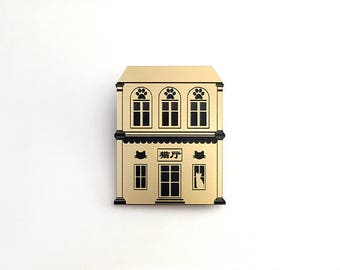Chinatown cat house brooch - gold and silver acrylic laser cut brooch
