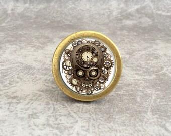 Superior Steampunk Skull   Vintage Cabinet Knob Drawer Knobs Pulls Antique Brass  Silver Glass Dresser Knob Pull