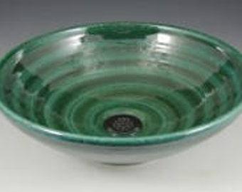 E C Racicot Art Sink Handmade Sarefire Stoneware Pottery Sink Vessel In Jade Glaze Appx