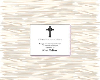 Sympathy thank you cards, Sympathy acknowledgment cards, bereavement cards, funeral cards, funeral thank you cards, irish celctic cross