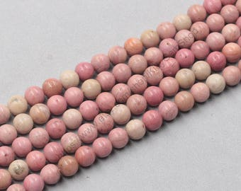 8mm Natural Rhodonite Beads Wholesale Loose Round Ball Bead With Well Ploished Gemstone Natural Stone MHA-176