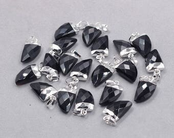 16mm Faceted Onyx Small Horn Pendants -- With Electroplated Silver Edge Gemstone Charms Wholesale Supplies YHA-329