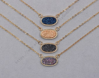 Druzy Necklaces -- Druzzy Choker Electroplated Gold Edge Drusy Jewelry Geode Bridesmaid Gift Necklaces dainty YHA-342