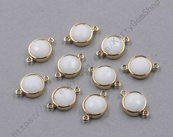 12mm Faceted White Ceramic Connectors -- With Electroplated Gold Edge Charms Wholesale Supplies YHA-345