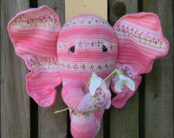 Crochet Amigurumi Trophy Head Home Decor Faux Taxidermy Wall Hanging Pink Elephant *GERTIE* Textile Art Soft Sculpture Flowers Nursery 3D