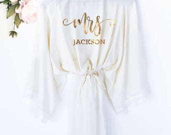 Bride Robe Personalized - Bride Robe Cotton - Mrs Robe - Mrs Gifts - Bridal Shower Gift for Bride Getting Ready Robe (EB3184MRS)