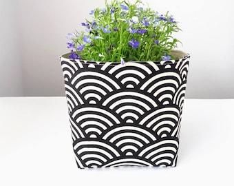 Storage basket, Monochrome, Storage bin, Shelf basket, Planter holder, Black, Fabric storage container, Storage pouch, Home organize basket