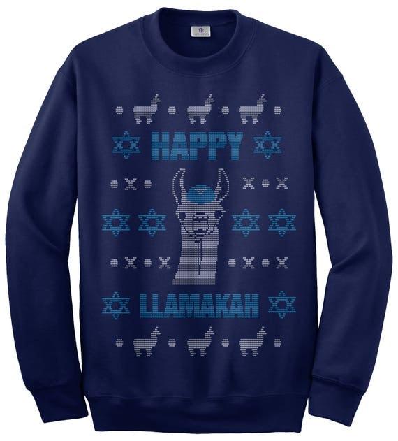 Happy Llamakah Llama Hanukkah Ugly Sweater Unisex Adult Crew