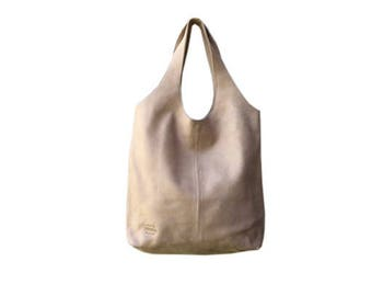 Leather hobo bag,Camel soft leather bag,Beige tote bag,Hobo handbag