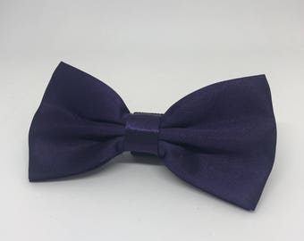 Eggplant Bowtie for Wedding Dog Outfit Pet Wedding Purple Bow Tie Dog Collar