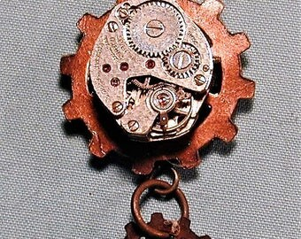 Steampunk Vintage Watch Movement with Gears Pendant with Chain OOAK #33