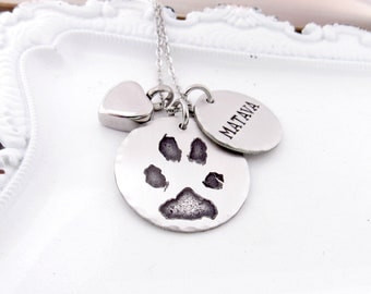 Your Pet's Actual Paw Print Necklace with Cremation Urn - Pet Memorial Necklace - Memorial Jewelry - Etched Paw Print Necklace