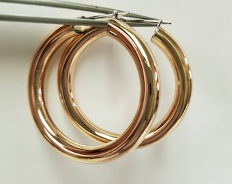 "1.5"" Estate Stainless Steel Large Rose Gold Copper Hoops 5mm Earrings"