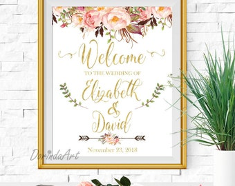 Welcome Wedding sign Printable Pink and Gold Welcome to our wedding sign Floral Watercolor Rustic Wedding signs Boho Bridal Shower Sign
