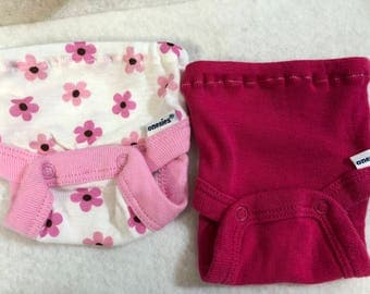 Baby Doll Diaper Covers, Panty, 15 inch AG Bitty Baby Clothes or Twin, Fits 16 inch Cabbage Patch, SET of 2 for 3.00, Pink FLOWERS & Pink