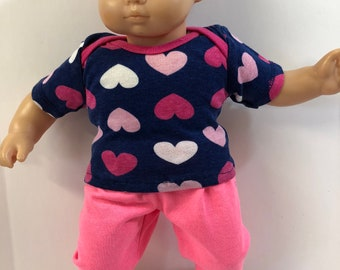 "15 inch Bitty Baby Clothes, 2-Piece Outfit, Pretty ""Lots of HEARTS"" Top, Pink Pants, 15 inch Bitty Baby and Twin Doll, Love My Dolly!"