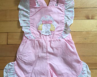 Vintage 1980s Toddler Girls Pink Floral Ruffle Sun Suit Romper Outfit! Size 2