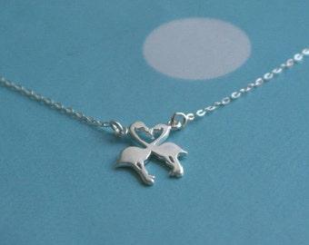Flamingo necklace - sterling silver flamingo necklace - flamingo jewellery - flamingo heart necklace - necklace for teenager - Flamingos