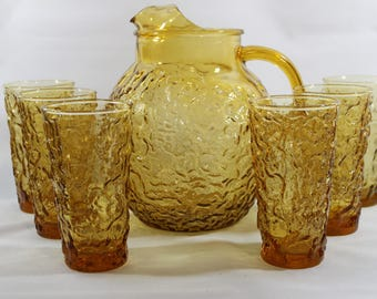 Anchor Hocking Milano / Lido Glass Ball Pitcher and Flat Tumblers (6) in Honey Gold * Vtg 1960's Retro Crinkle Glass * Pitcher, Glasses, Set