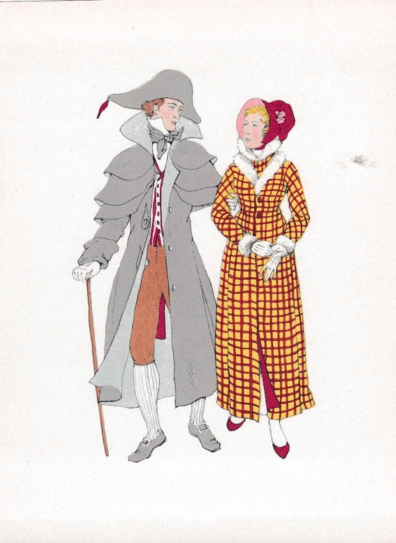 1940's print of early 19th century man and woman in very fashionable winter walking outfits, splendidly extravagant, published 1940