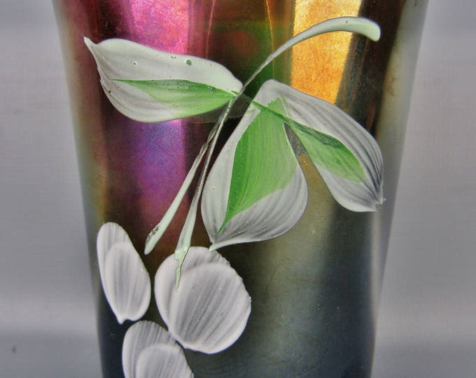 Carnival Glass - Fenton Enameled CHERRIES Blue Flared HP Tumbler
