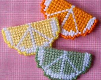 Plastic Canvas: Citrus Slices Magnets (set of 3)