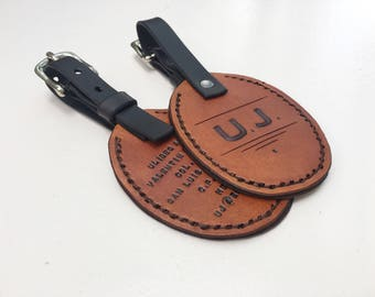 Leather Luggage Tags - His and Hers Luggage Tags - Anniversary Leather - Retirement Gift - Travel Tags - Leather Travel Tags