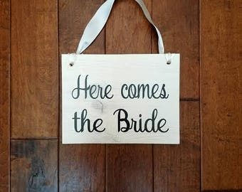 Here Comes The Bride - Here Comes The Bride Sign - Ring Bearer Sign - Uncle Here Comes - Flower Girl Sign - Wedding Decor