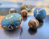 Boho Clay Beads Blue Brown Earthy Exotic Ceramic Beads Carved Beads White Etched Indigo Bead Pendants Exotic Unique Colorful Tribal Beads