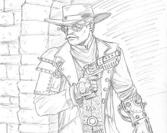 Steampunk Gunslinger Original Drawing